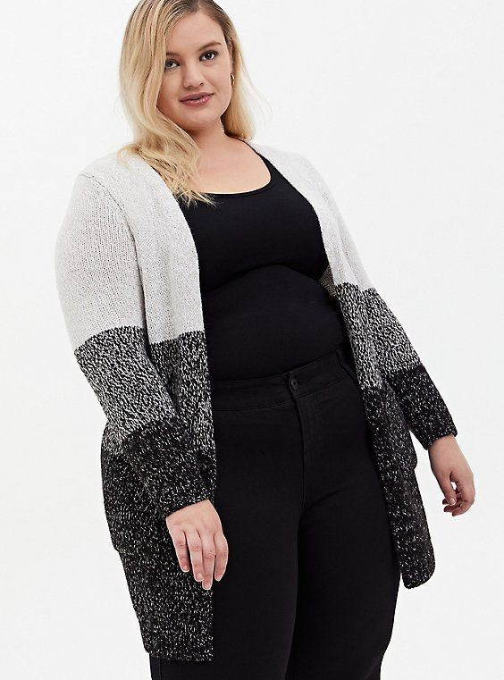 Grey Colorblock Open Stitch Open Front Cardigan, MULTI STRIPE, hi-res