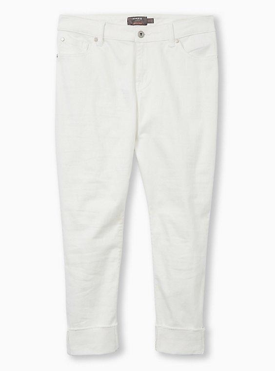 Crop Boyfriend Jean - Vintage Stretch White, , flat