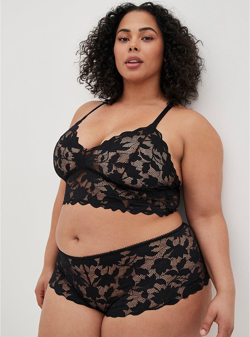 Black Lace Cheeky Panty , , hi-res