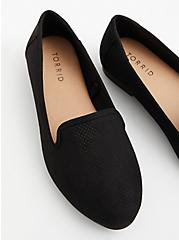 Plus Size Black Faux Suede Perforated Loafer (WW), BLACK, alternate