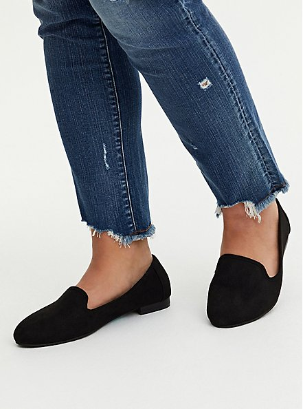 Black Faux Suede Perforated Loafer (WW), BLACK, hi-res