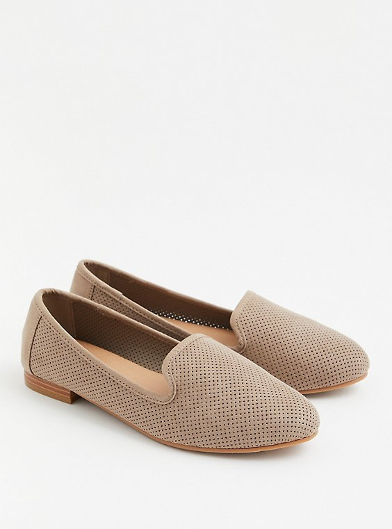 Taupe Nubuck Perforated Loafer (WW), TAN/BEIGE, hi-res