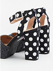 Black & White Polka Dot Crisscross Platform Heel (WW), BLACK, alternate