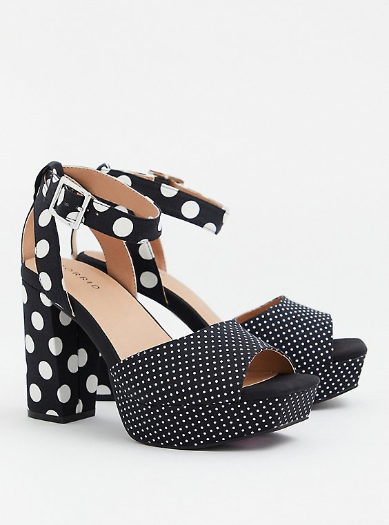 Black & White Polka Dot Crisscross Platform Heel (WW), BLACK, hi-res