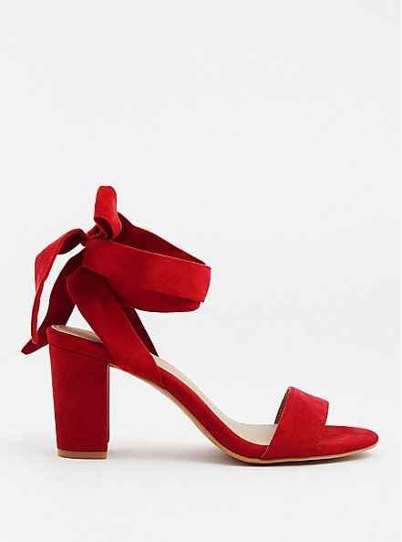 Red Faux Suede Wrap Heel (WW), RED, alternate