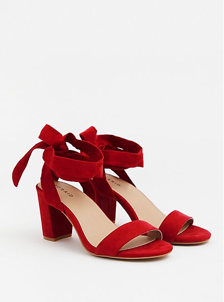 Red Faux Suede Wrap Heel (WW), RED, hi-res