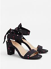 Black & Multi Polka Dot Textile Wrap Heel (WW), BLACK-WHITE DOT, alternate