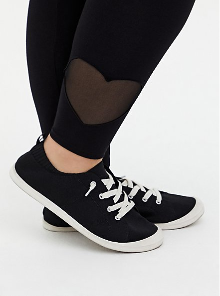 Premium Legging - Heart Cutout Hem Black , BLACK, alternate