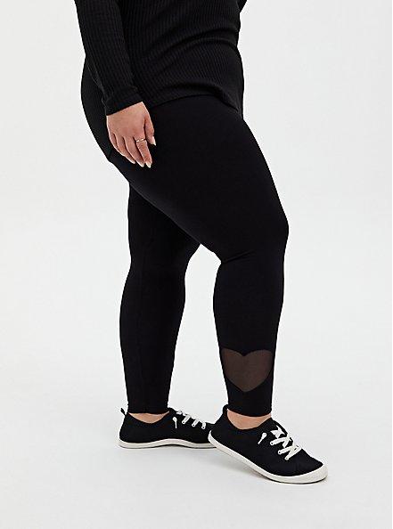 Premium Legging - Heart Cutout Hem Black , BLACK, hi-res