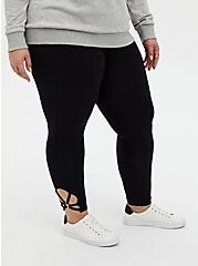 Premium Leggings - O-Ring Strappy Hem Black , BLACK, alternate