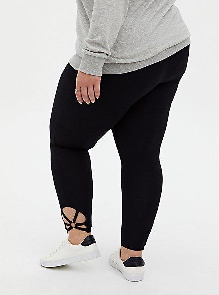 Premium Leggings - O-Ring Strappy Hem Black , BLACK, alternate