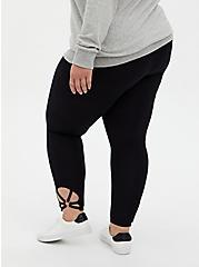Plus Size Premium Leggings - O-Ring Strappy Hem Black , BLACK, alternate