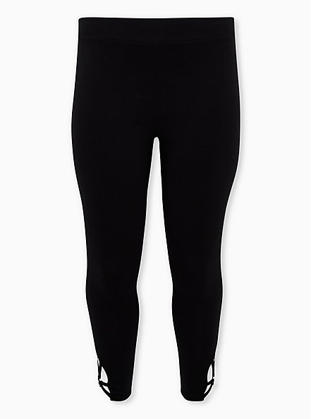 Premium Leggings - O-Ring Strappy Hem Black , BLACK, hi-res