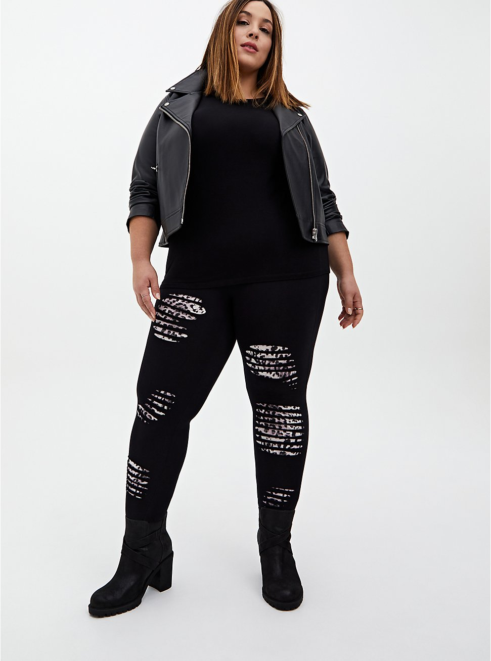 Premium Legging - Slashed Leopard Underlay Black, BLACK, hi-res