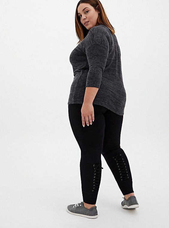 Premium Leggings - Corset Back Black, BLACK, hi-res