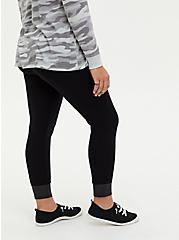 Premium Leggings - Faux Leather Cuff Black, BLACK, alternate