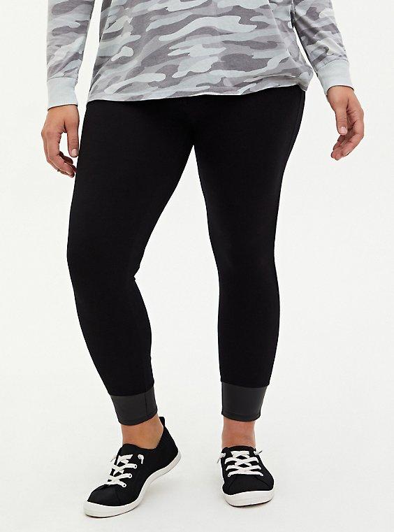 Premium Leggings - Faux Leather Cuff Black, BLACK, hi-res