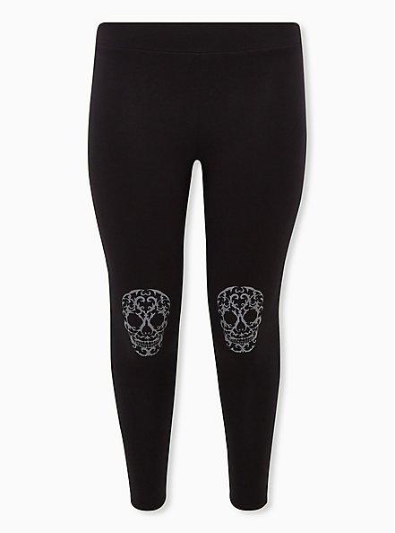 Premium Leggings - Skull Knee Black, , hi-res