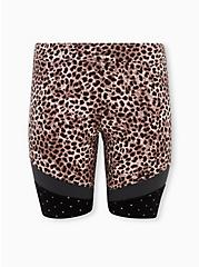 Leopard & Colorblock Hem Bike Shorts, BLACK, hi-res