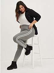 Premium Leggings - Side Stripe Heather Grey, GREY, hi-res