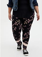 Plus Size Premium Leggings - Mixed Floral Black, BLACK, alternate