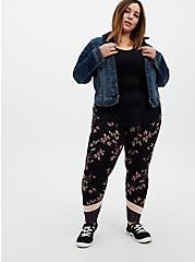 Plus Size Premium Leggings - Mixed Floral Black, BLACK, hi-res