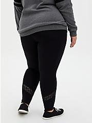 Premium Legging - Geometric Lace Inset Black, BLACK, alternate