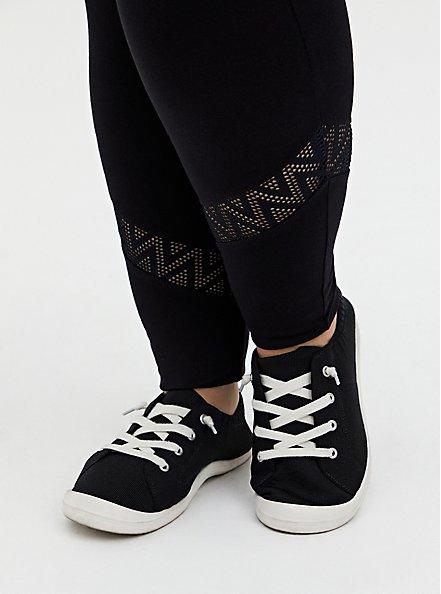 Premium Legging - Geometric Lace Inset Black, BLACK, alternate