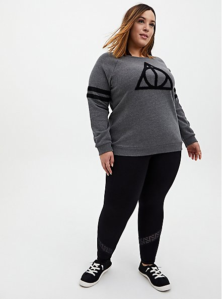 Premium Legging - Geometric Lace Inset Black, BLACK, hi-res