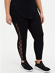 Premium Leggings - Lace Sides Black, BLACK, alternate