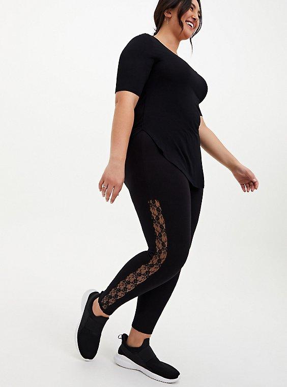 Premium Leggings - Lace Sides Black, BLACK, hi-res