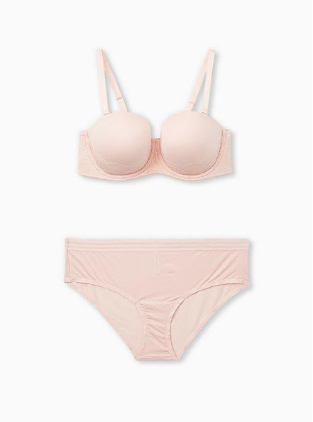 Light Pink Microfiber & Lace Push-Up Strapless Bra, LOTUS PINK, alternate