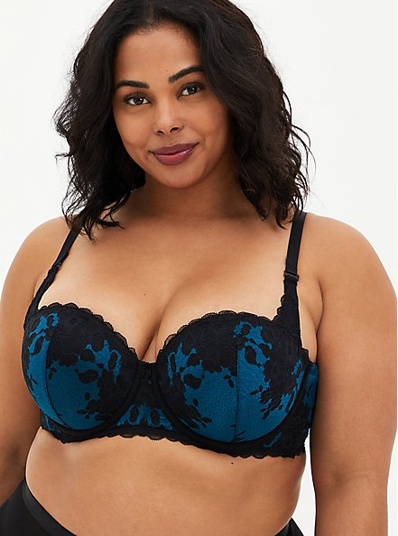 Black & Teal Lace Strappy Push-Up Strapless Bra, MOROCCAN BLUE, alternate