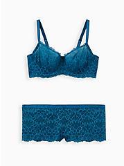 Teal Lace Unlined Balconette Bra , MOROCCAN BLUE, alternate