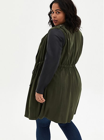 Olive Green Twill & Faux Leather Anorak, ROSIN, alternate