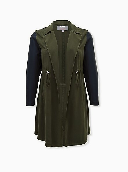 Olive Green Twill & Faux Leather Hooded Anorak, ROSIN, hi-res