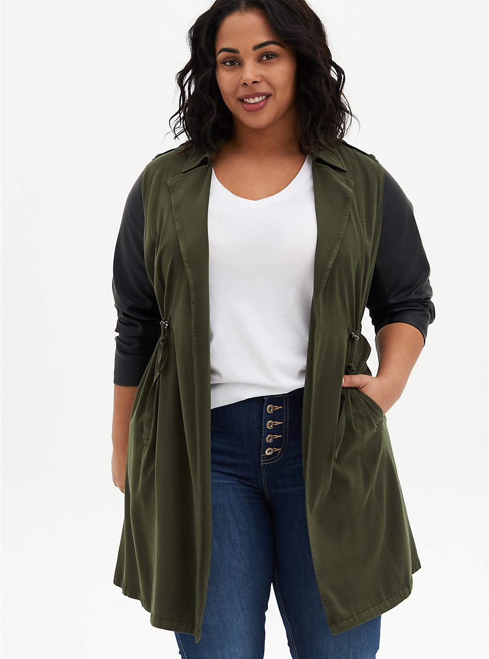 Olive Green Twill & Faux Leather Anorak, ROSIN, hi-res