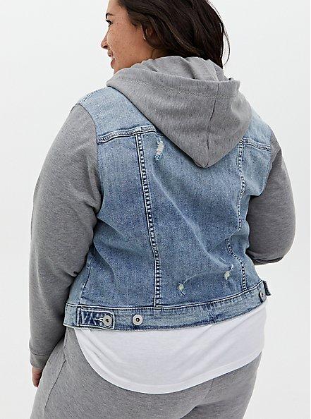 Denim & Fleece Hooded Trucker Jacket - Medium Wash, MEDIUM WASH, alternate
