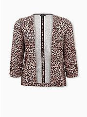 Plus Size Leopard Crepe Drape Front Blazer, LEOPARDS-BROWN, hi-res