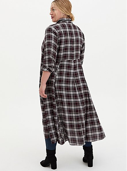 Black Plaid Brushed Challis Duster Shirt Kimono, PLAID - RED, alternate