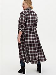 Black Plaid Flannel Duster Shirt Kimono, PLAID - RED, alternate