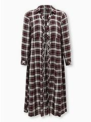 Black Plaid Flannel Duster Shirt Kimono, PLAID - RED, hi-res