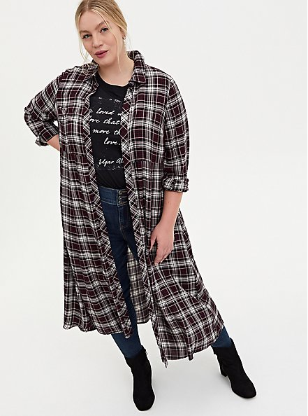 Black Plaid Brushed Challis Duster Shirt Kimono, PLAID - RED, hi-res