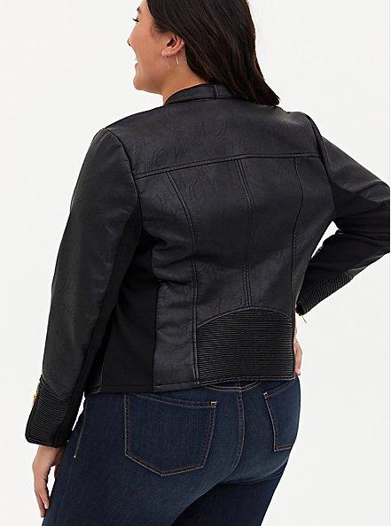 Black Faux Leather & Rib Moto Jacket, DEEP BLACK, alternate