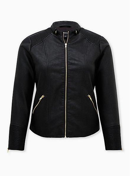 Black Faux Leather & Rib Moto Jacket, DEEP BLACK, hi-res