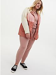 Pink Colorblock Nylon Hooded Rain Jacket, PINK, alternate