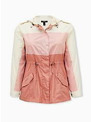 Pink Colorblock Nylon Hooded Rain Jacket, PINK, hi-res