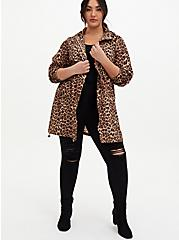 Leopard Nylon Hooded Longline Rain Jacket, LEOPARDS-BROWN, alternate