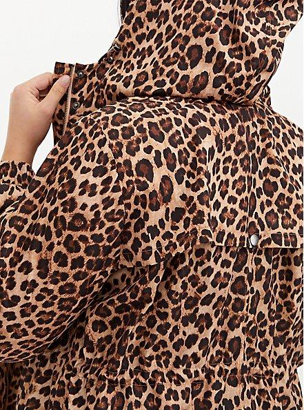 Plus Size Leopard Nylon Hooded Longline Rain Jacket, LEOPARDS-BROWN, alternate