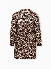 Leopard Nylon Hooded Longline Rain Jacket, LEOPARDS-BROWN, hi-res